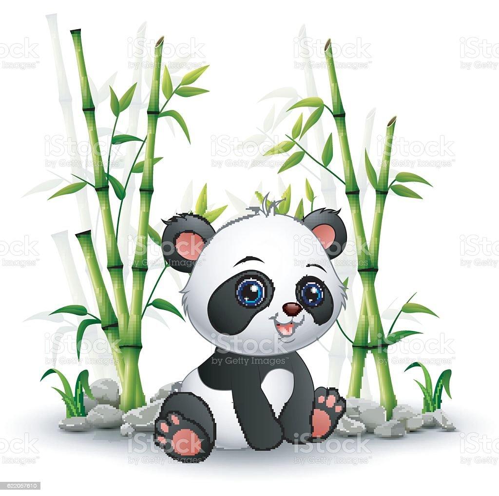 Baby panda sitting among bamboo stem vector art illustration