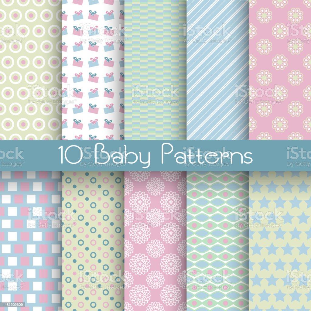 Baby pastel different vector seamless patterns (tiling) vector art illustration