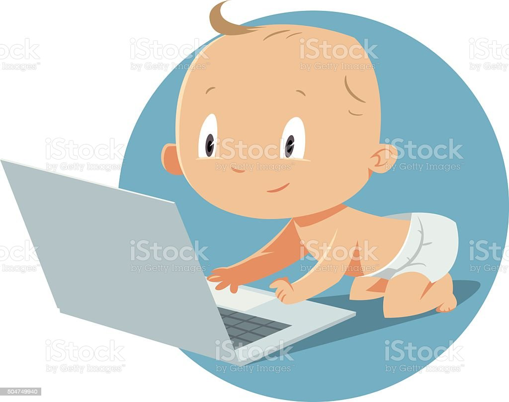 baby playing with laptop computer vector art illustration