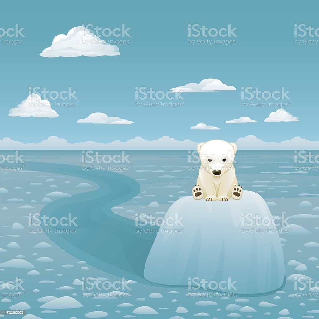 Baby Polar Bear on Melting Glacier vector art illustration