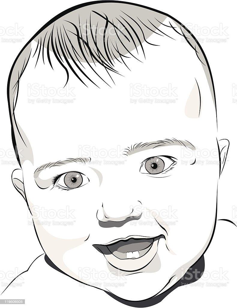 baby portrait vector art illustration