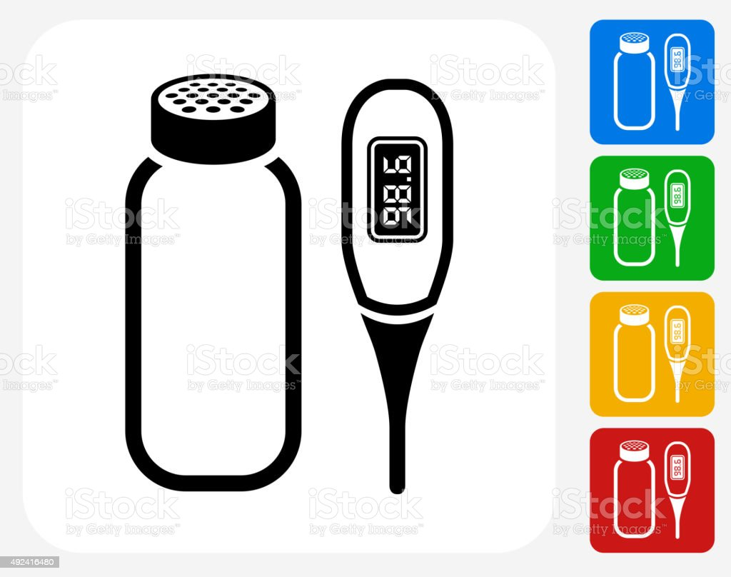 Baby Powder and Thermometer Icon Flat Graphic Design vector art illustration