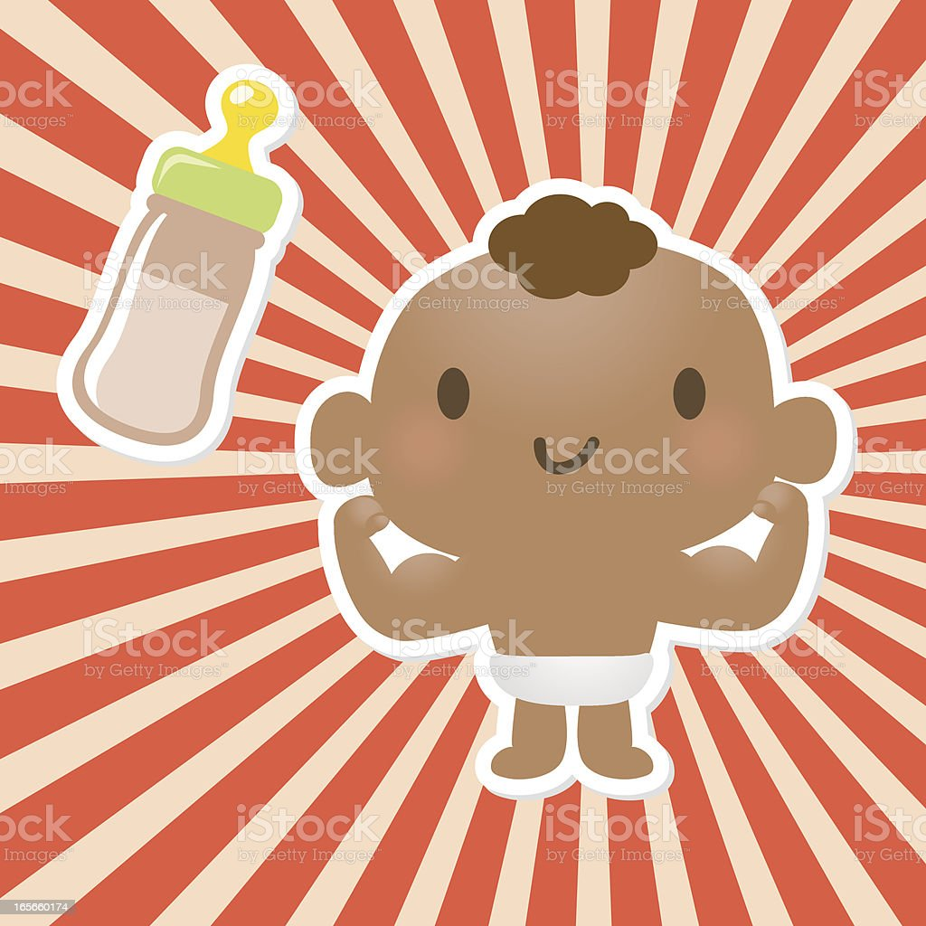 Baby Power ( Strong kid showing off his Muscles) royalty-free stock vector art