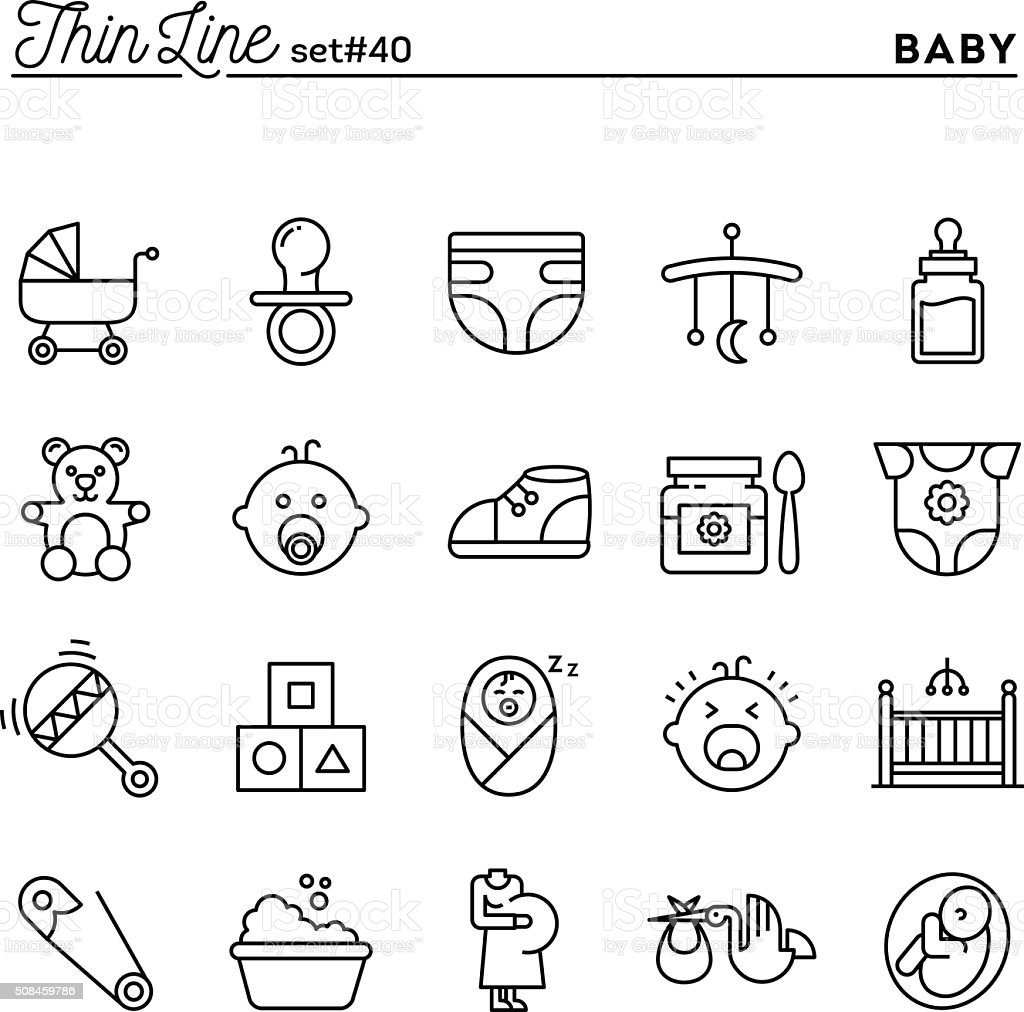 Baby, pregnancy, birth, toys and more, thin line icons set vector art illustration