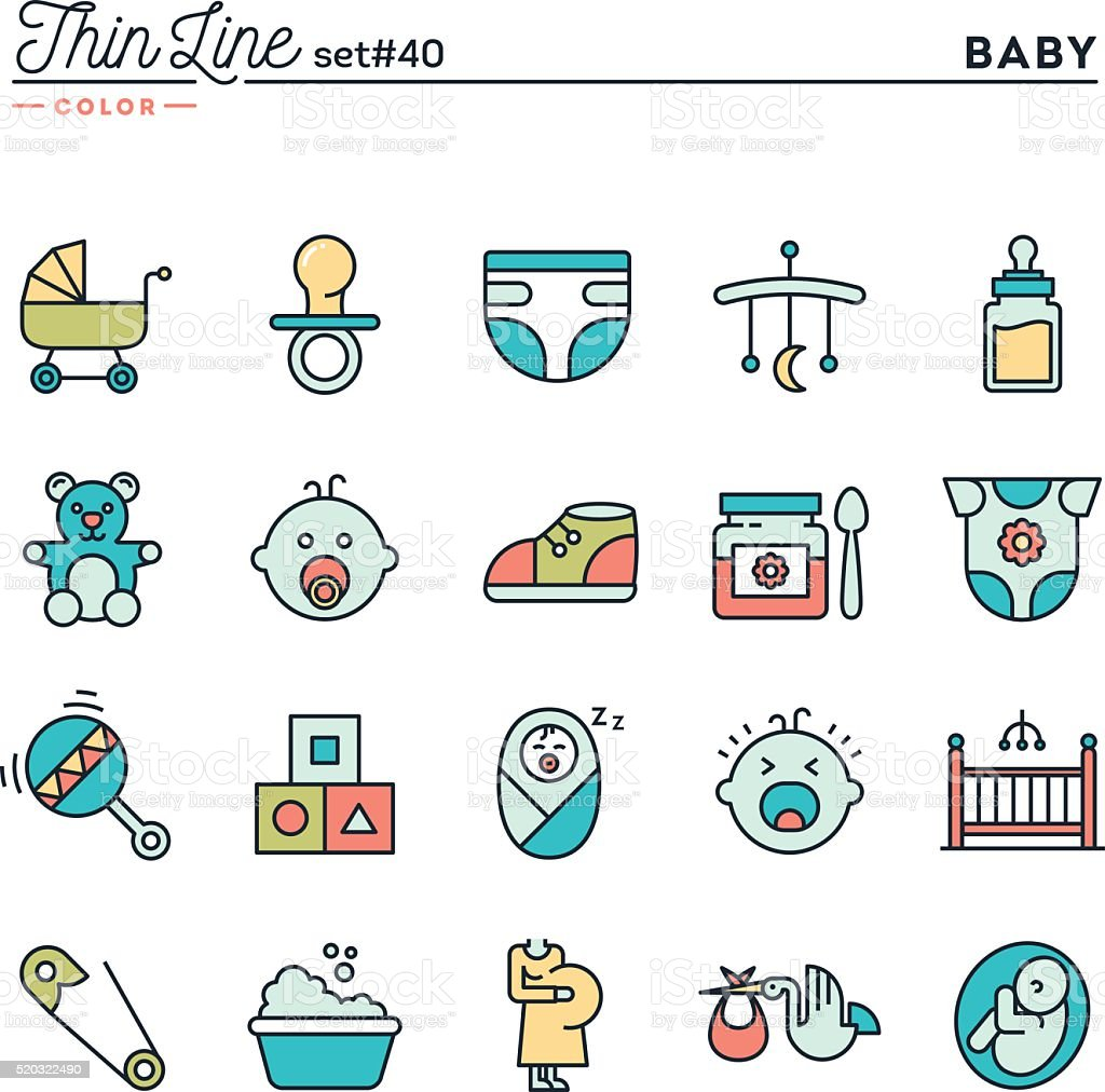 Baby, pregnancy, birth, toys and more vector art illustration