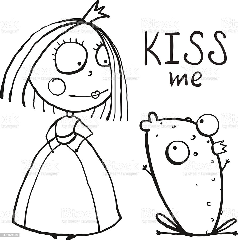 baby princess and frog asking for kiss coloring page stock vector
