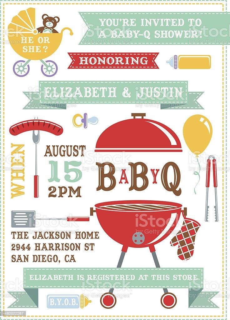 Baby Q Shower Invitation vector art illustration
