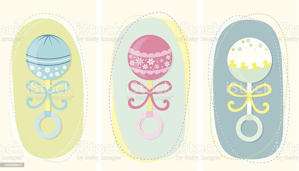 Baby rattles set vector art illustration