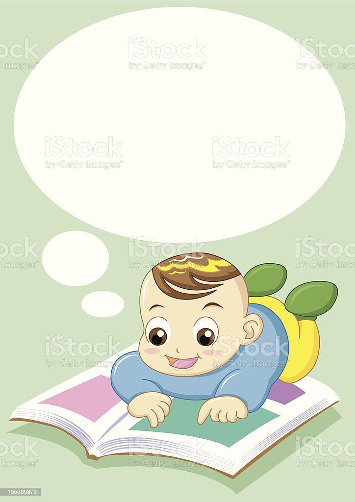 baby reading royalty-free stock vector art