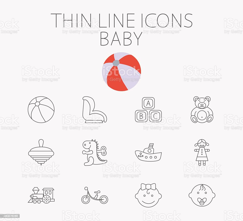 Baby related flat vector icon set vector art illustration