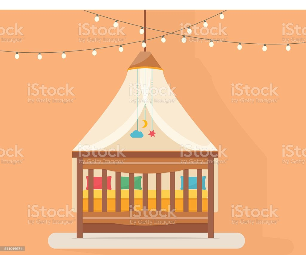 Baby room with bed vector art illustration