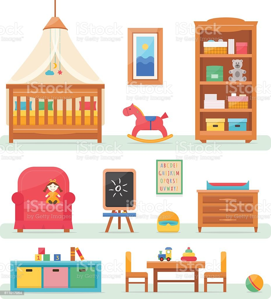 Baby room with furniture. vector art illustration