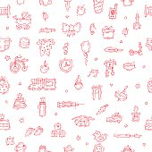 Baby Seamless pattern, background. Hand drawn vintage style.