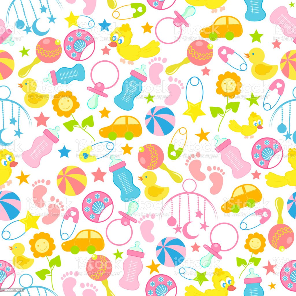 Baby Seamless Pattern Background royalty-free stock vector art