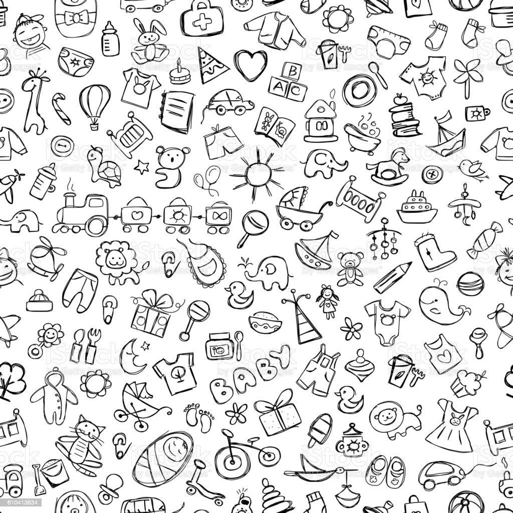 Baby seamless pattern for your design vector art illustration