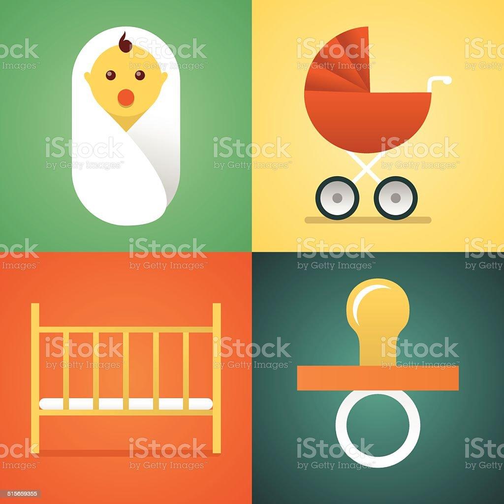 Baby set vector art illustration