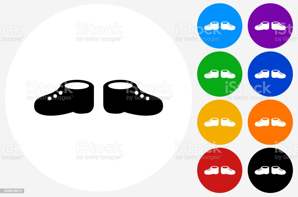 Baby Shoes Icon on Flat Color Circle Buttons vector art illustration