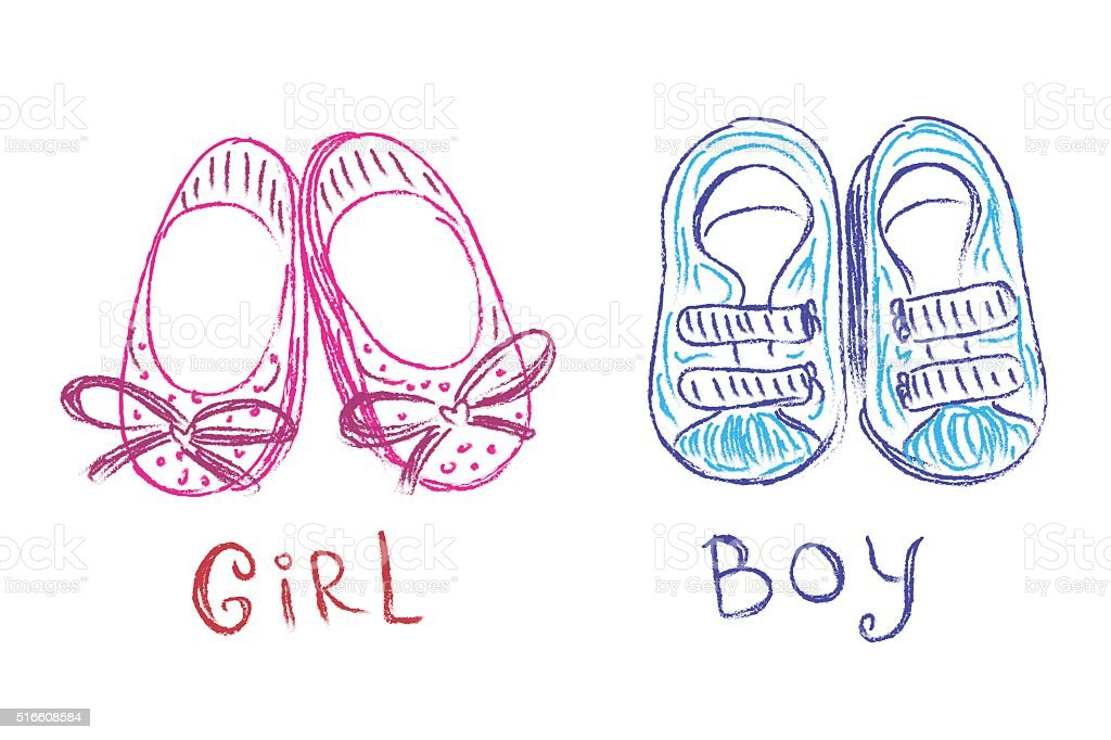 Baby Shoes Sketch Doodle Hand Drawn Vector Illustration stock ...