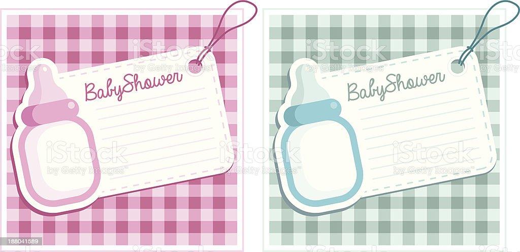 Baby Shower Bottles Invitation Cards royalty-free stock vector art