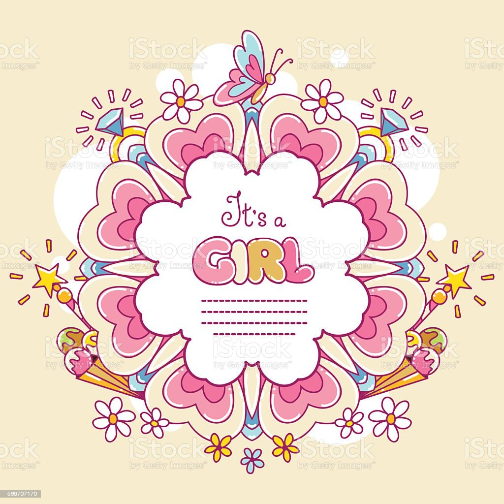 Baby shower card, It's a Girl vector art illustration