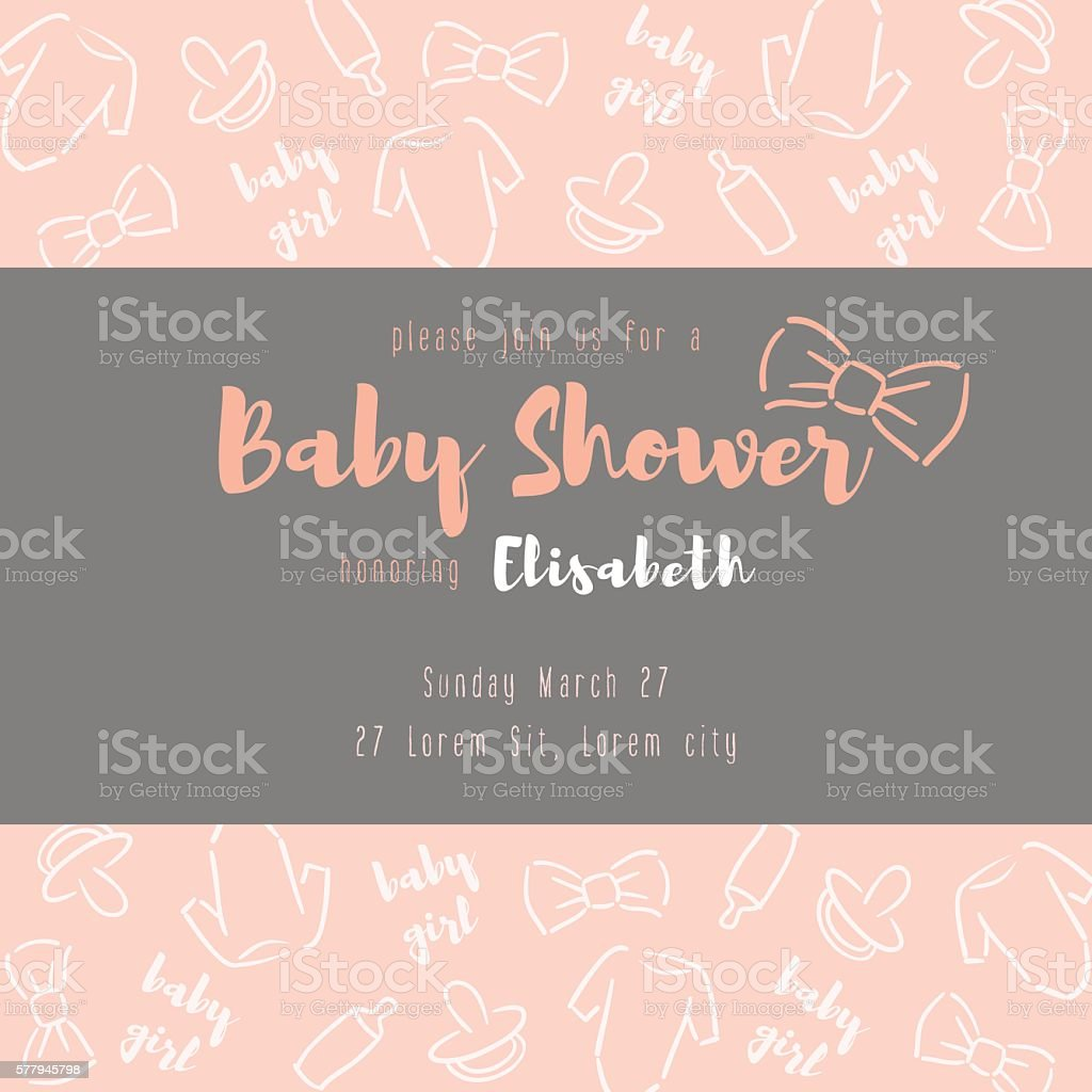 Baby shower card. vector art illustration