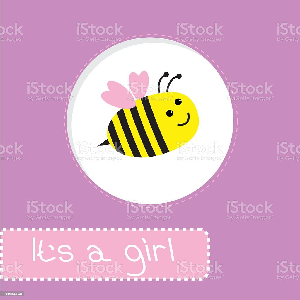 Baby shower card with bee. It's a girl vector art illustration