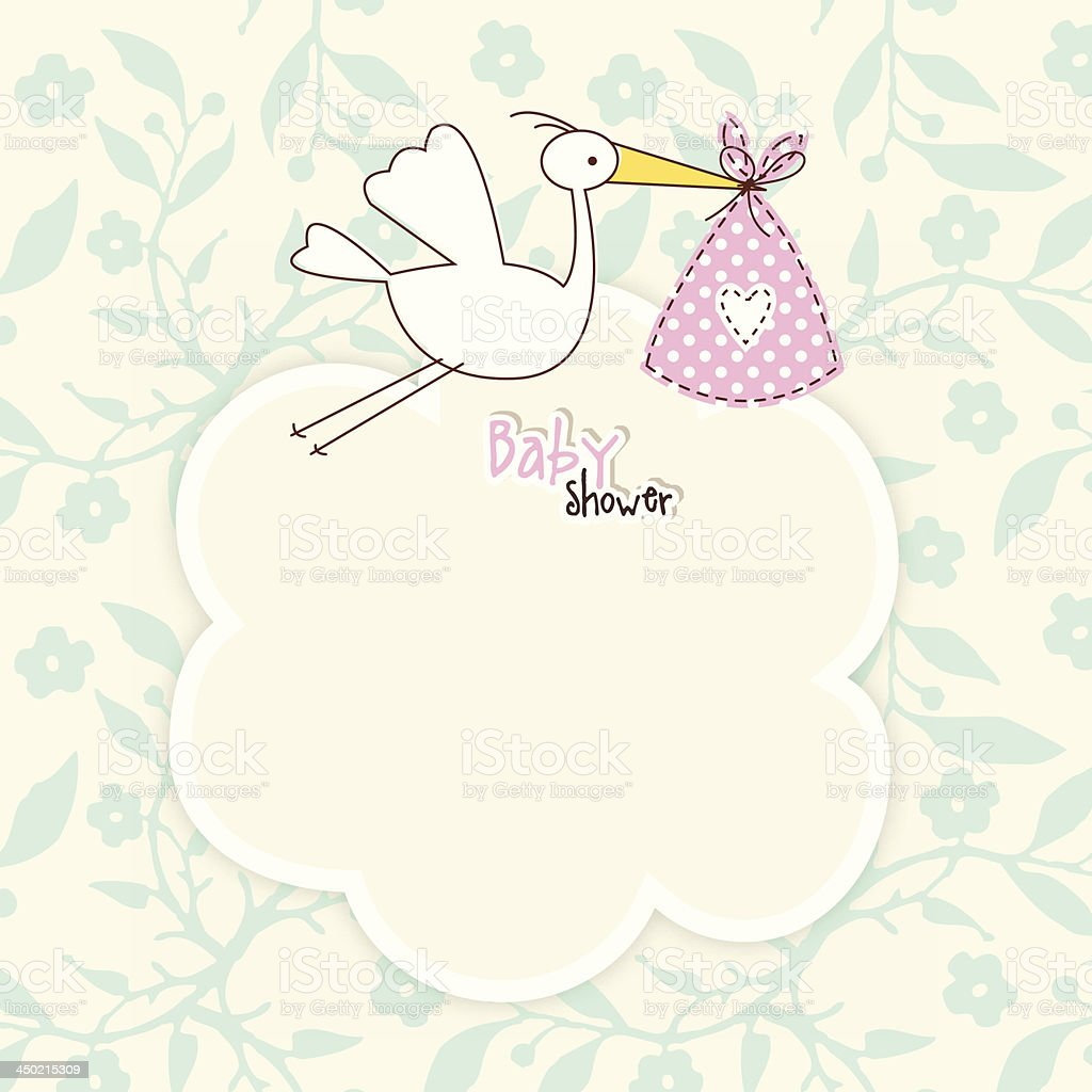 Baby shower card with copy space vector art illustration