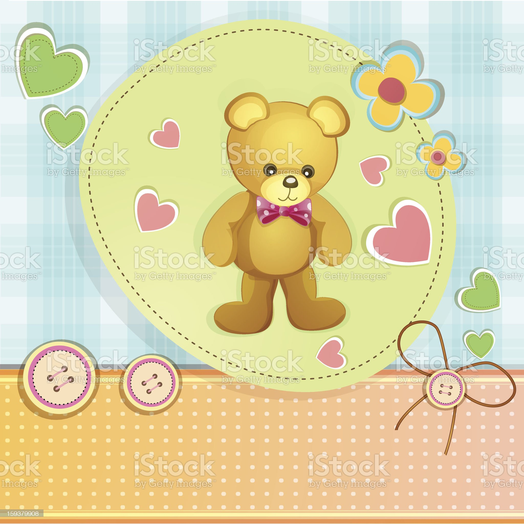 Baby shower card with cute teddy bear royalty-free stock vector art