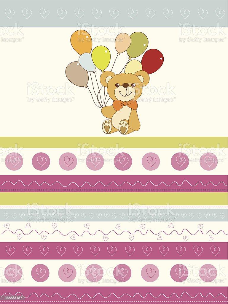 baby shower card with cute teddy bear royalty-free stock vector art