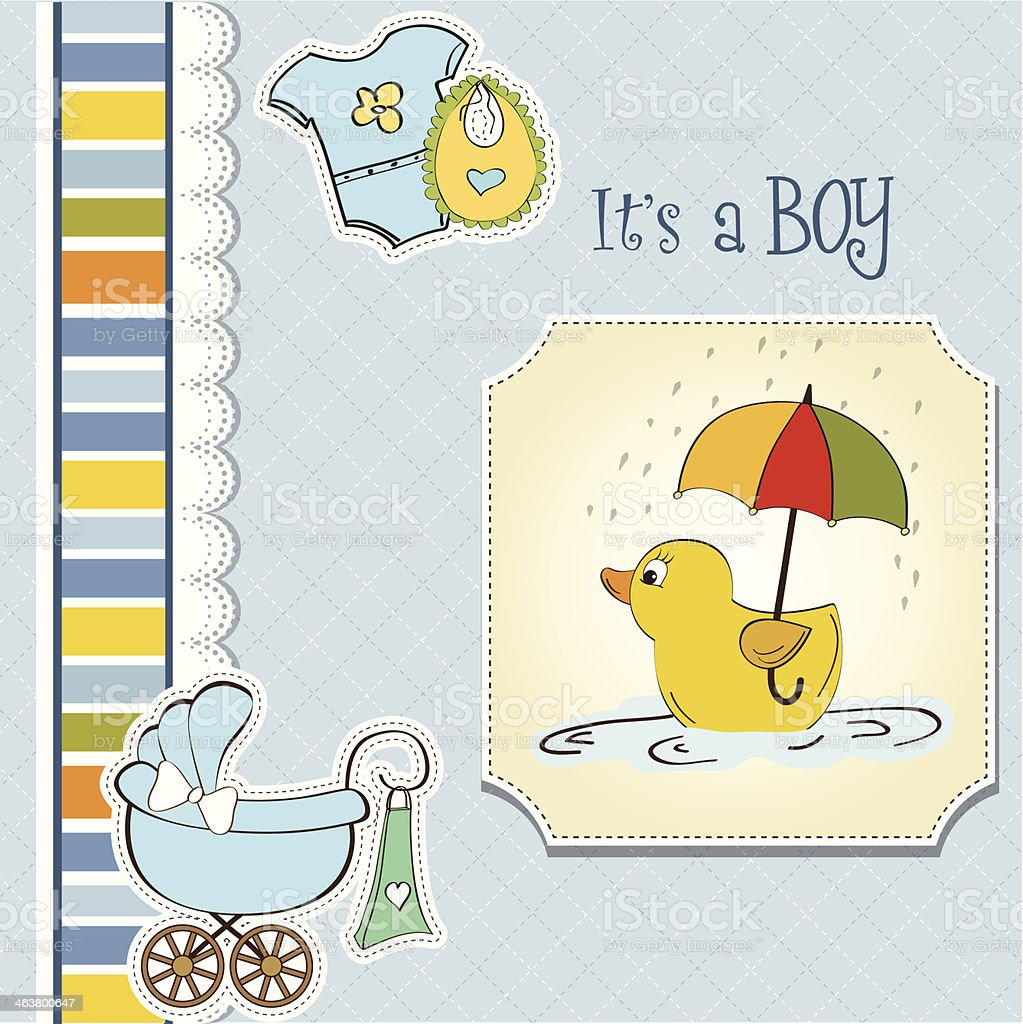 baby  shower card with duck toy vector art illustration