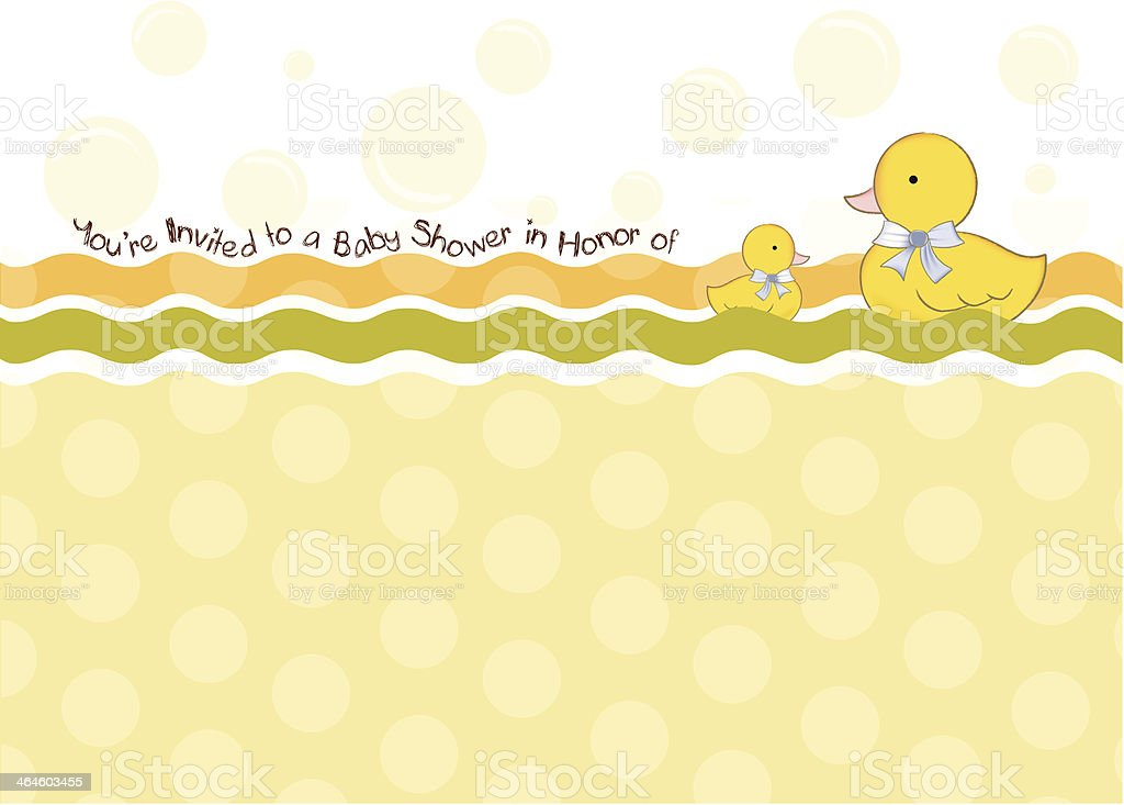 baby shower card with duck toys vector art illustration