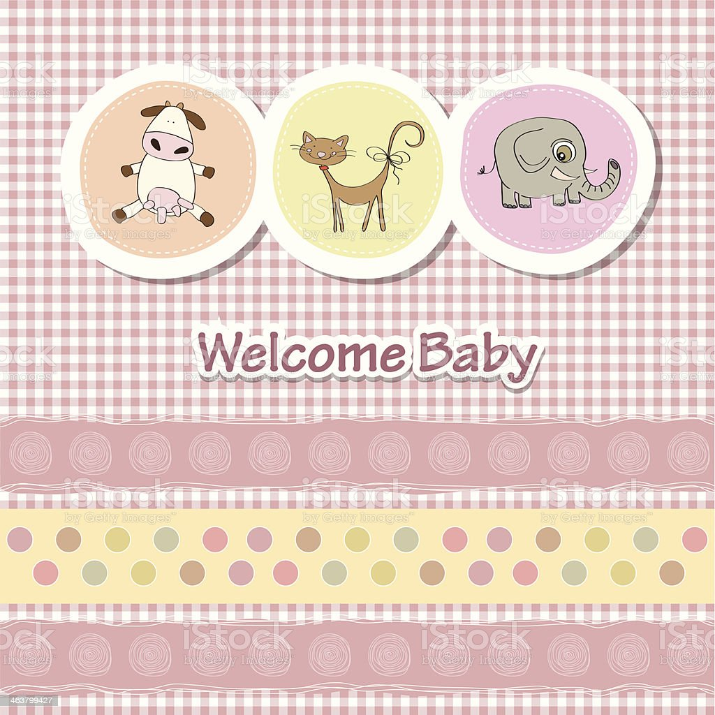 baby shower card with funny animals vector art illustration