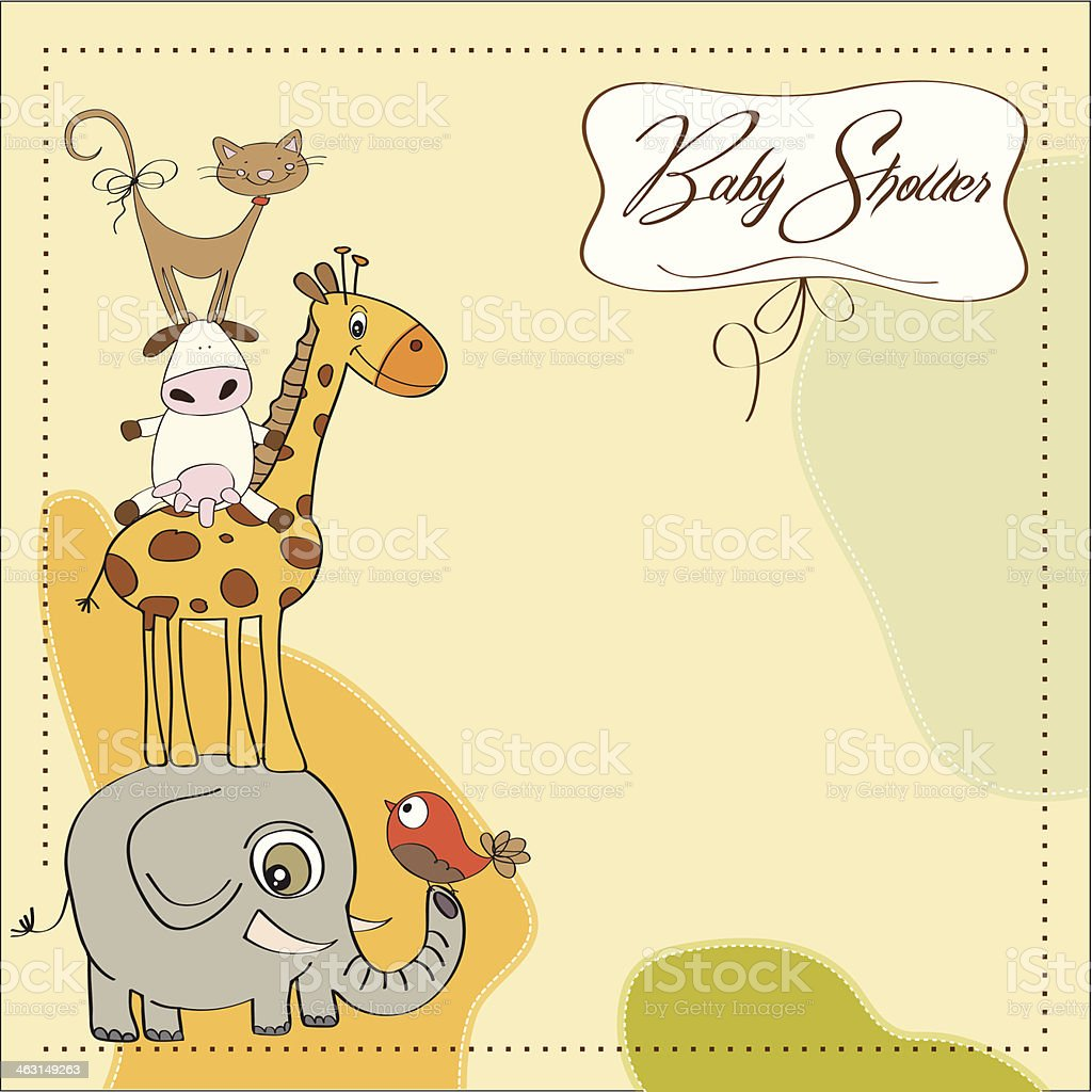 baby shower card with funny pyramid of animals vector art illustration