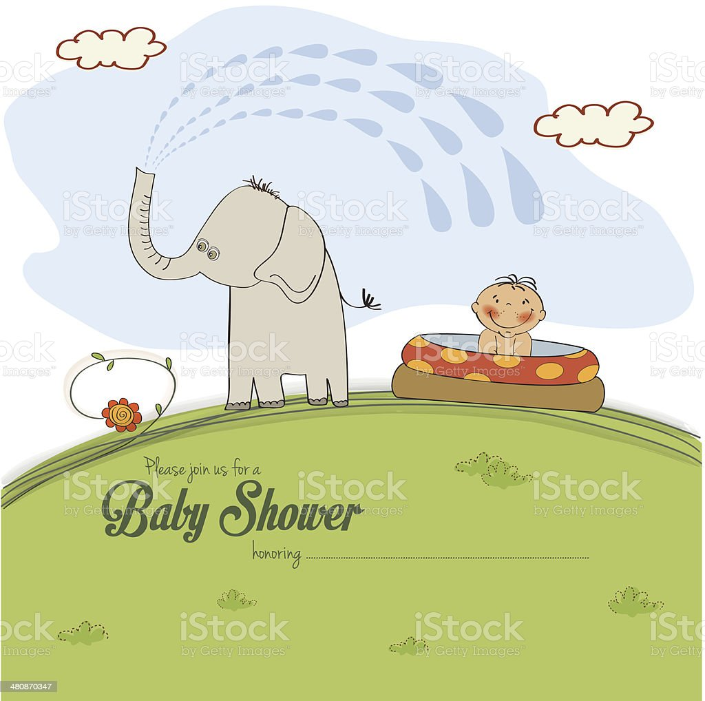 baby shower card with  little boy royalty-free stock vector art