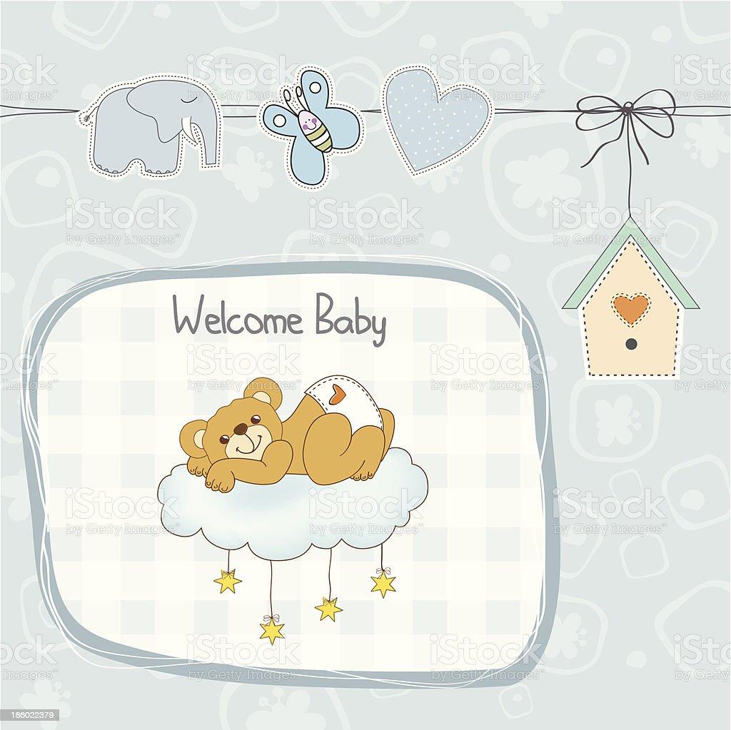 baby shower card with sleepy teddy bear vector art illustration