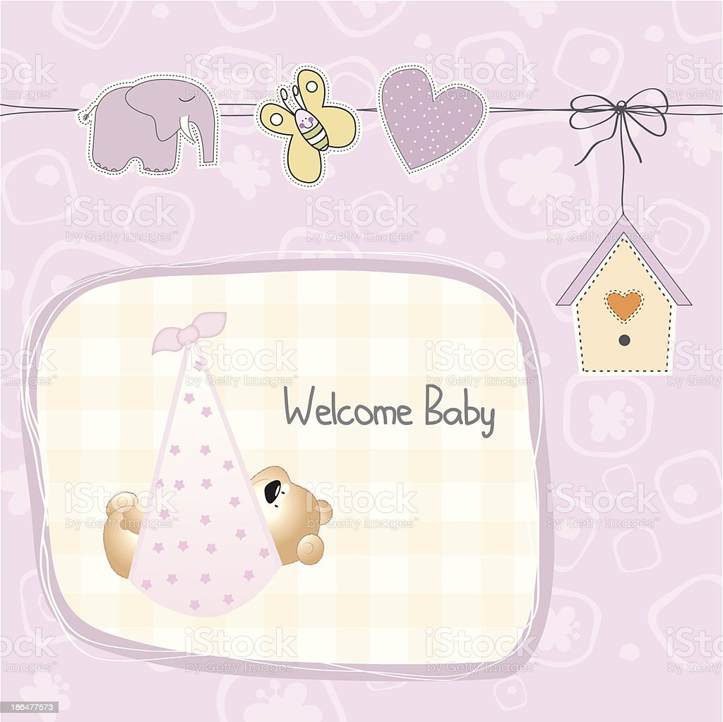 baby shower card with teddy bear toy royalty-free stock vector art
