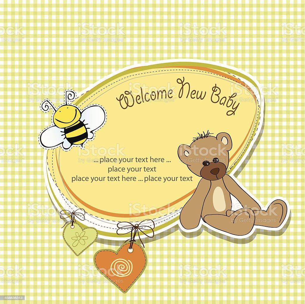 baby shower card with teddy bear toy vector art illustration
