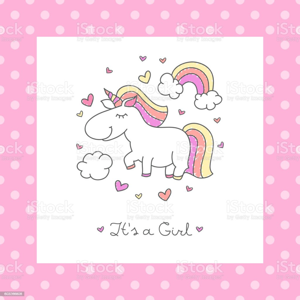 baby shower card with unicorn vector art illustration