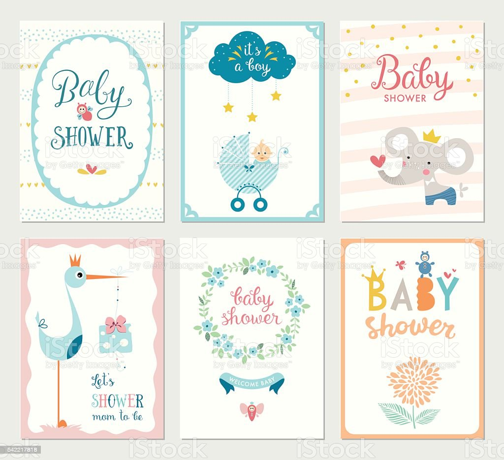 Baby Shower Cards Set vector art illustration