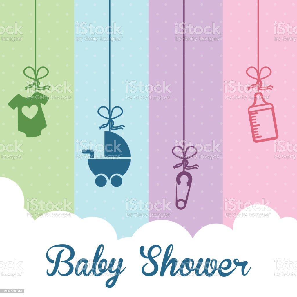 baby shower design vector art illustration