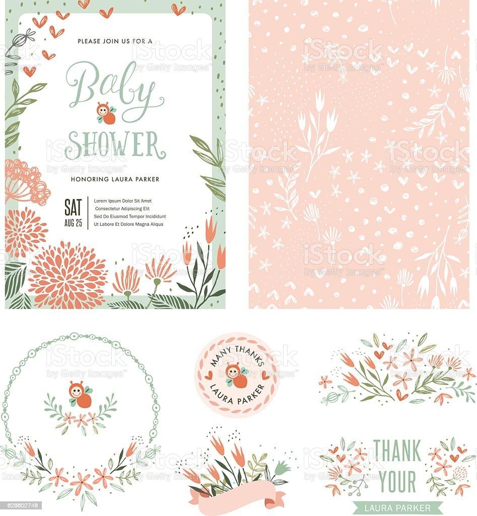 Baby Shower Floral Set vector art illustration