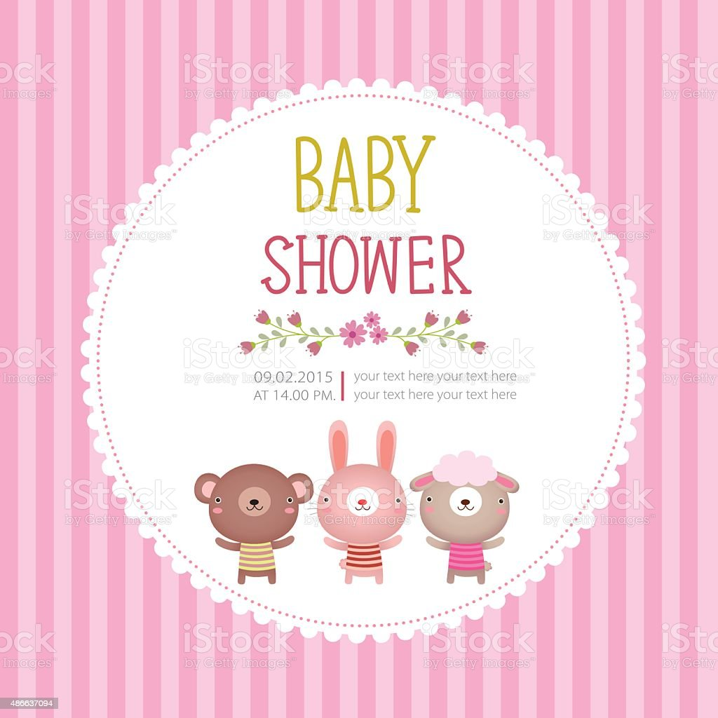 baby shower invitation card template on pink background illustration