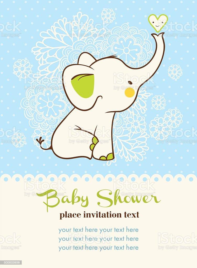 Baby shower invitation card. vector art illustration