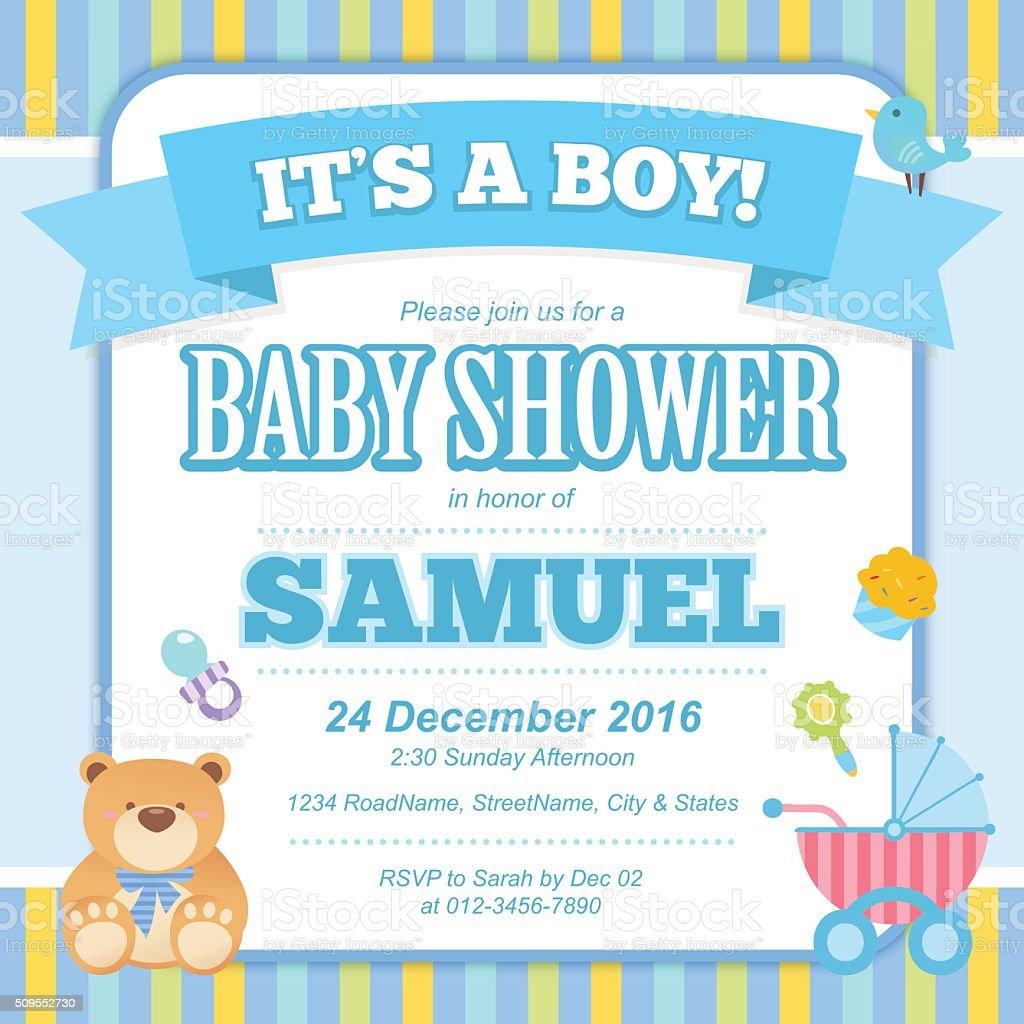 Baby Shower Invitation Card (Boy) vector art illustration