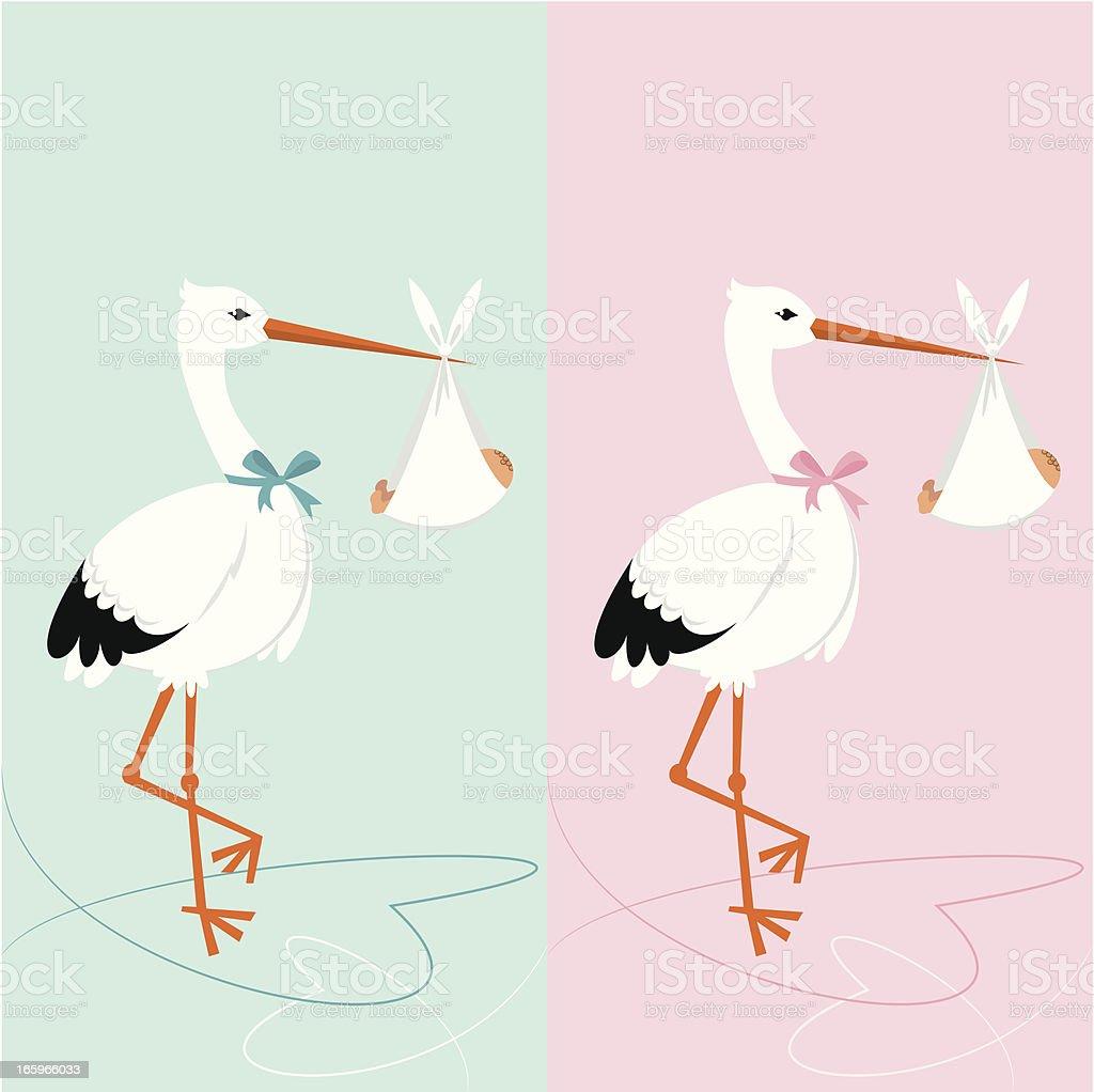 Baby shower invitation - stork with newborn vector art illustration