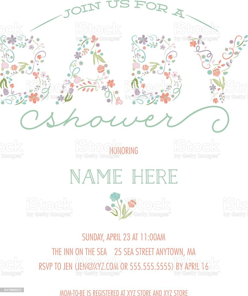 Baby Shower Invitation Template - Invite with Floral Design vector art illustration