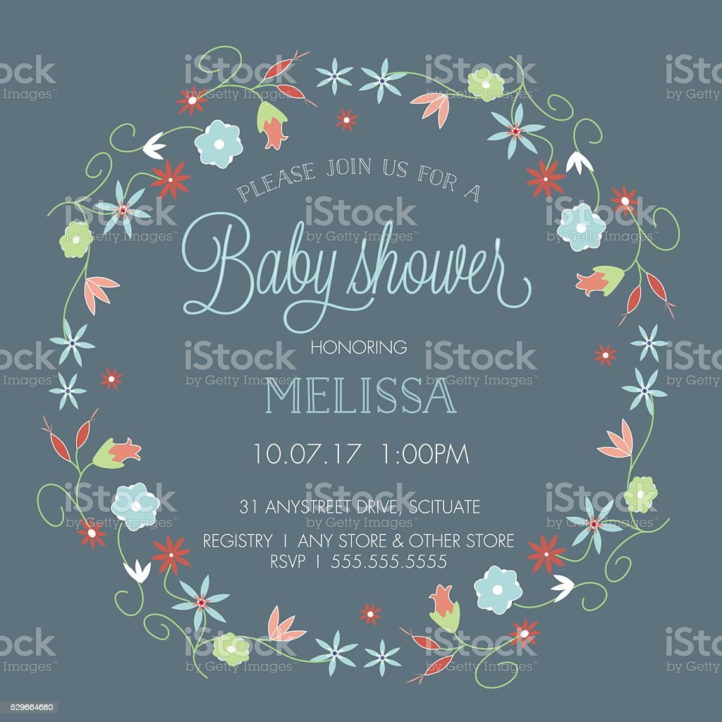 Baby Shower Invitation Template - with Floral Wreath Border vector art illustration