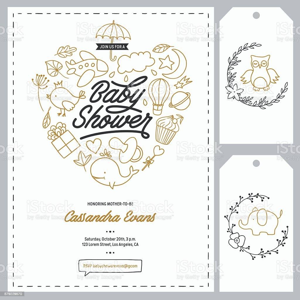 Baby shower invitation templates set. Hand drawn vintage illustration. vector art illustration