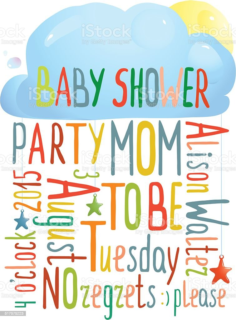 Baby Shower Invitation with Cloud vector art illustration