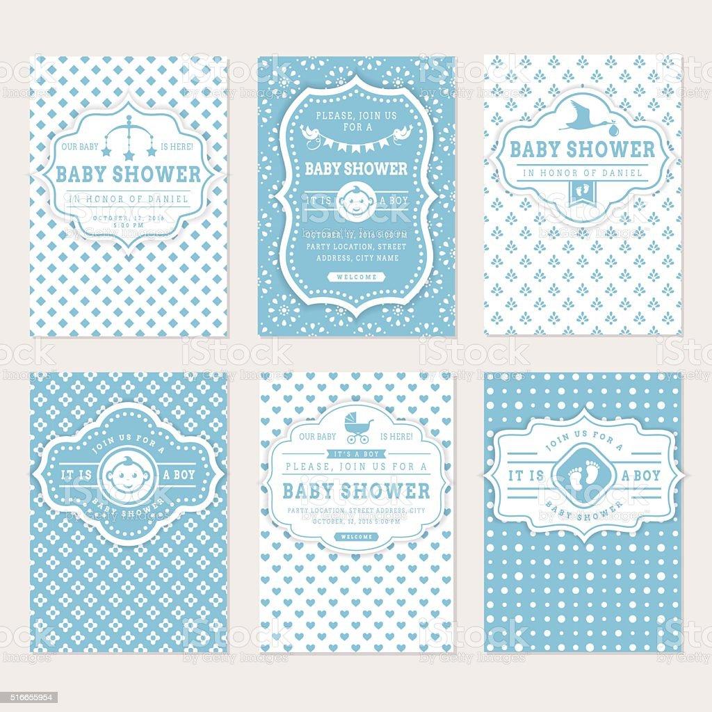 Baby shower invitations. vector art illustration